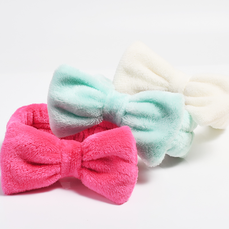 Coral Fleece Wash Face Bow Hairbands For Women Girls Elastic Headbands Headwear Solid Color Hair Bands Turban Hair Accessories