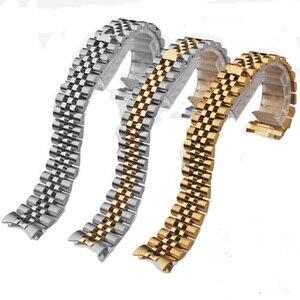 Image 1 - Mannen Vrouwen 13mm 17mm 20mm Merken Zilver Goud rvs Horlogebanden Strap Vervangen Voor DATEJUST ROL Horloge polsband Armband