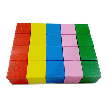 16/20Pcs/Set Colorful Cubes Wooden Building Blocks Stack Tower Collapses Games Stacking Up Square Wood Toy Educational Gift - 20pcs