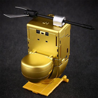 12cm Dirtyman W 01G Gold Toilet Deformation ABS Model Transformation Toy Gold Armor Closestool Pocket Action Figure Robot Toys