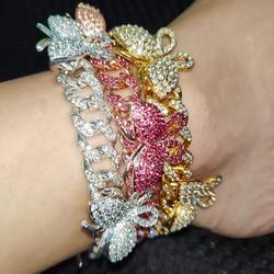 CZ Zircon Butterfly Ankle Bracelet Cuban Link Chain Anklets For Women Wide Foot Bracelets Boho Beach Jewelry