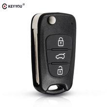 KEYYOU-funda plegable de 3 botones para llave de coche carcasa para llave de entrada sin llave para Kia K2 K5