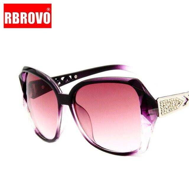 RBROVO-gafas De Sol con montura grande para mujer, anteojos De Sol femeninos con gradiente Vintage De diseñador De marca, gafas para ir De compras, UV400, De viaje, 2021 3