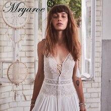 Mryarce 2020 새로운 Boho 웨딩 드레스 스파게티 스트랩 레이스 쉬폰 신부 가운