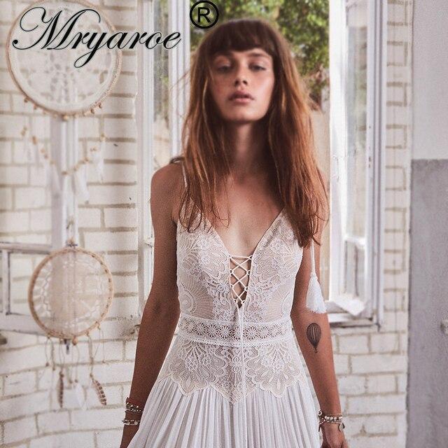 Mryarce 2020 nowy boho weselny sukienka paski spaghetti koronki szyfonu suknie ślubne