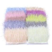 Натуральное страусиное перо, 1 метр, отделка, бахрома, высота 6-8 см, перья для платьев, украшения одежды, аксессуары для шитья, оптовая продажа
