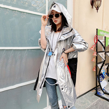 2020 Autumn New Bright Silver purple Women Hooded plus Size Windbreaker Coat Women Harajuku Loose