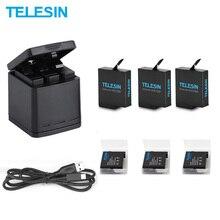 TELESIN 3 слота светодиодный аккумулятор зарядное устройство коробка для хранения+ 3 аккумулятора+ кабель type C для GoPro Hero 5 6 7 8 аксессуары для камеры