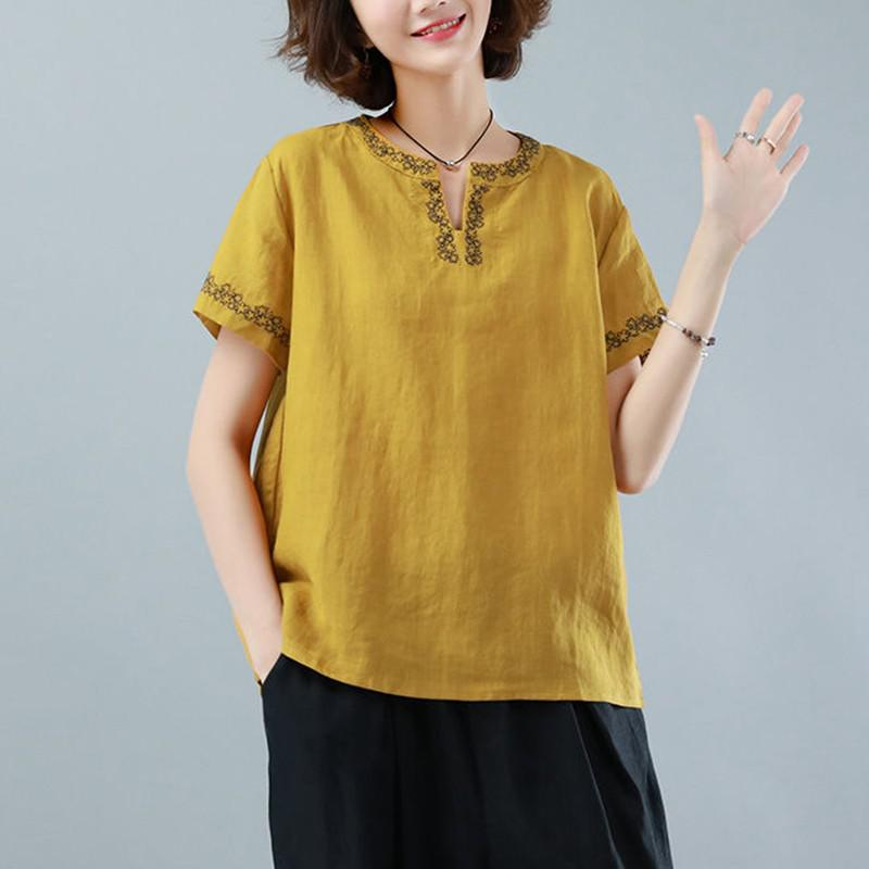 Oversized Cotton Linen Shirt Women Summer Loose Casual Tops New 2020 Simple Style Vintage Embroidery Woman Blouses Shirts P1316 8
