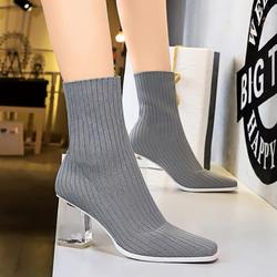 EOEODOIT High Square Heels Boots Women Sexy Square Toe Sock Shoes Knit Fabric Pumps Mid Calf Autumn Winter Stretchy Booties 8 cm