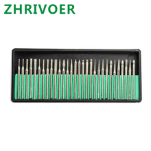 Handle 3mm emery grinding needle fine electroplated diamond grinding rod cylindrical cone-shaped ball grinding head 50pcs two box set diamond grinding head glass polishing metal smothing diamond points emery grinding needle kit milling cutter