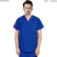 Men's Scrub Set Color Blocking Vcollar Top + Scrub Pants Pure Cotton Surgery Scrubs Short Sleeve Medical Uniforms