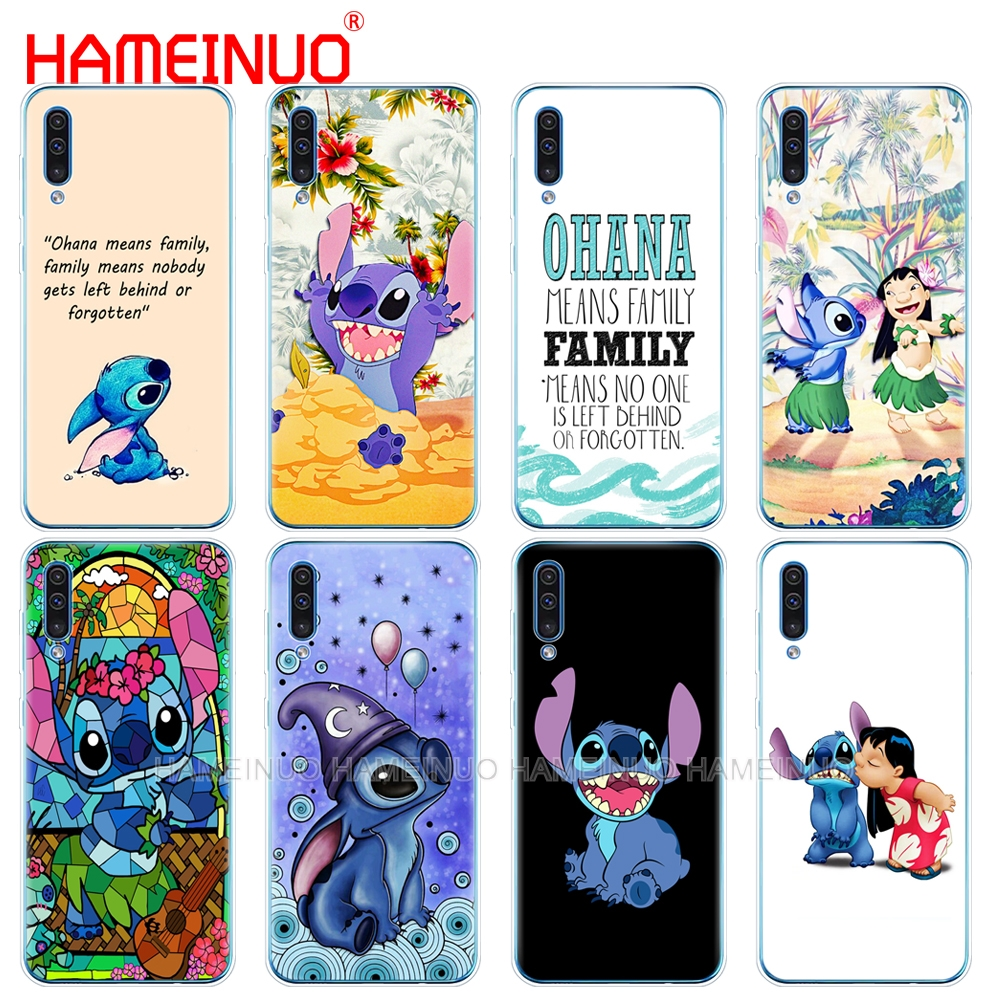 silicon phone cover case for Samsung Galaxy S10 E PLUS A10 A20 A30 A40 A50 A70 A10E A20E M20 cover Lilo and stitch ohana famil