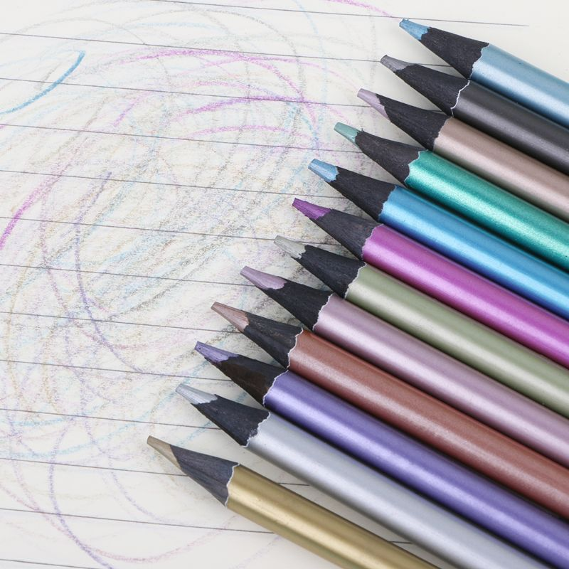 Lápis de desenho metálico não-tóxico 12 cores, lápis de desenho esboço, 12 peças