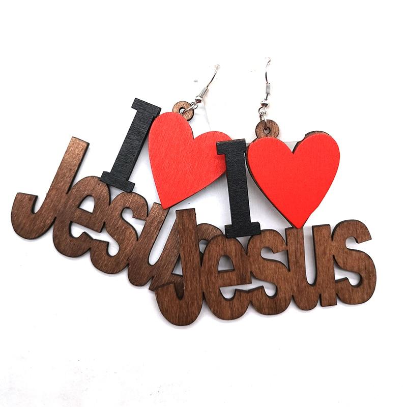 I love Jesus Wooden Earrings