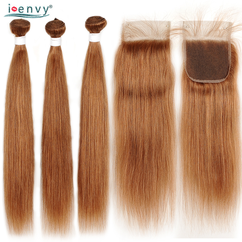 Indian 3 Bundles With Closure Colored Straight Hair Bundles With Closure Gold Blonde Bundles With Closure Human Hair Non Remy