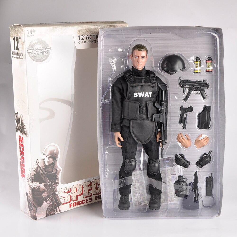 """Auf Lager 3 Stil 1/6 Skala Beweglichen 12 """"SWAT Schwarz Einheitliche Militärische Armee Kampf Spiel Spielzeug Soldat Set Aktion abbildung Modell Spielzeug"""