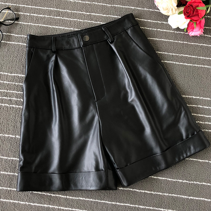 New 2019 Fall/winter Women Real Leather High-waist Wide-leg Shorts  Fashion High Quality Sheepskin Leather Short Trousers A858