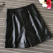 New 2019 Fall/winter women real leather high-waist wide-leg shorts  Fashion High quality sheepskin leather short trousers A858 new 2019 fall winter women real leather high waist wide leg shorts fashion high quality sheepskin leather short trousers a858