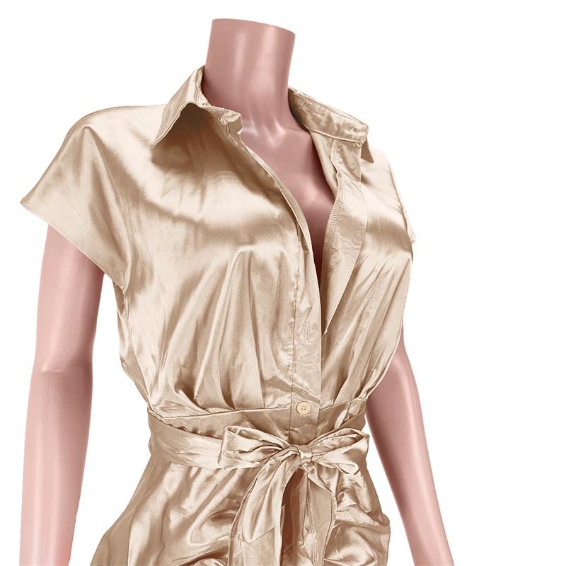 Bright Faux Silk Pleated Shirt Midi Dress with Belt