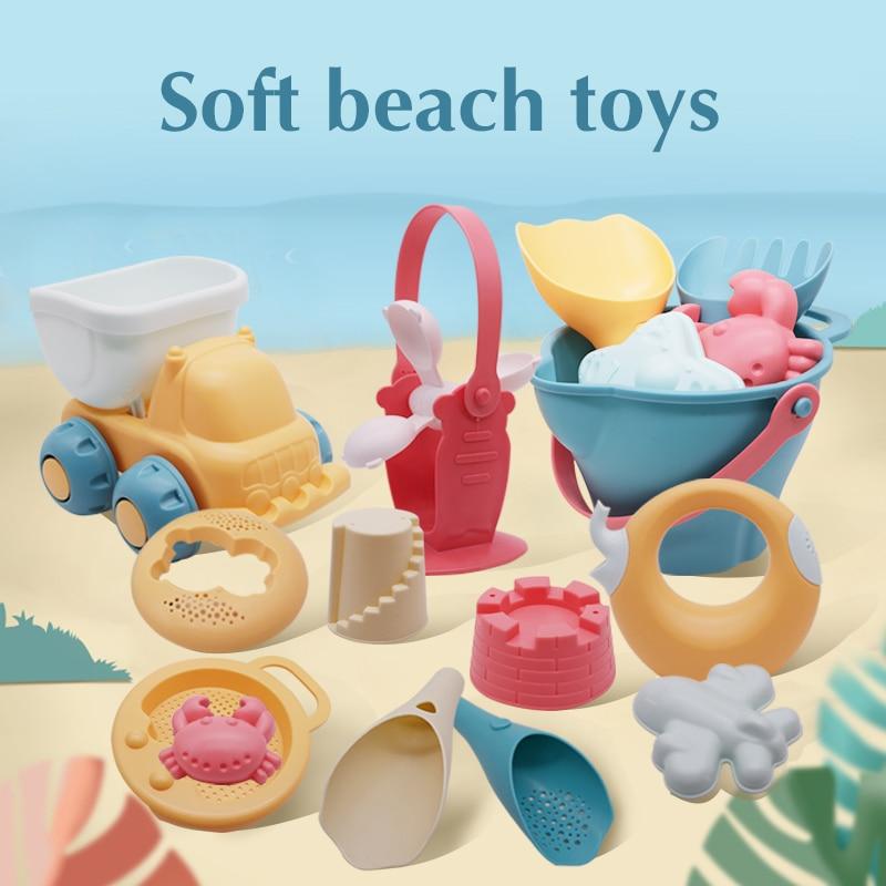 Beach Toys For Kids 5-17pcs Baby Beach Game Toys Children Sandbox Set Kit Summer Toys for Beach Play Sand Water Game Play Cart