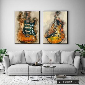 Wall Art Graffiti Painting Rock Guitar Printed on Canvas 2