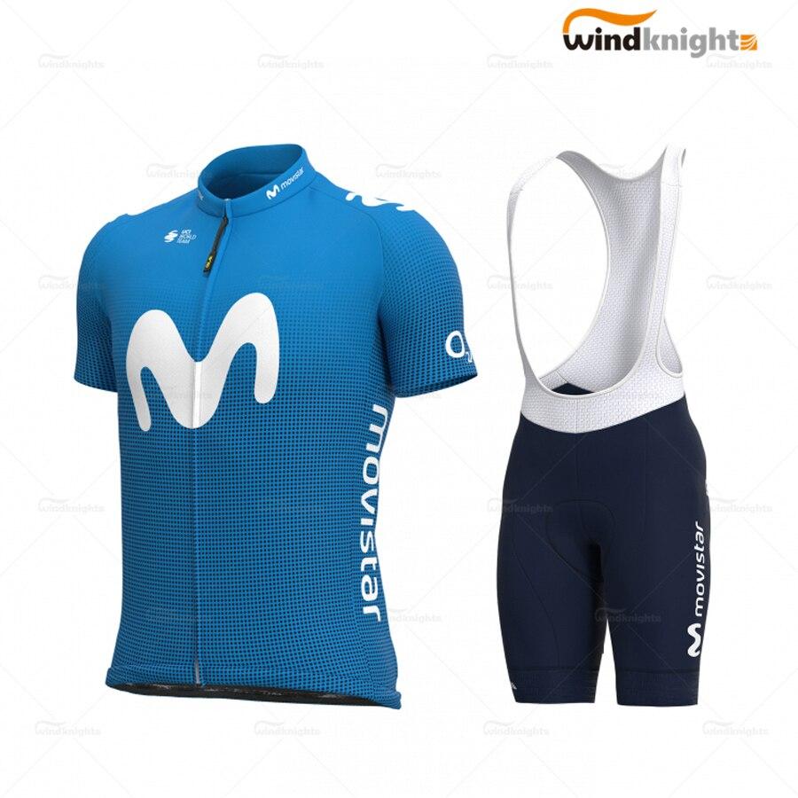 Cycling Clothes Set 2020 Summer Men Short Sleeve Blue Jersey Bib Shorts Gel Breathable Pad Ropa Ciclismo Verano Movistar Team