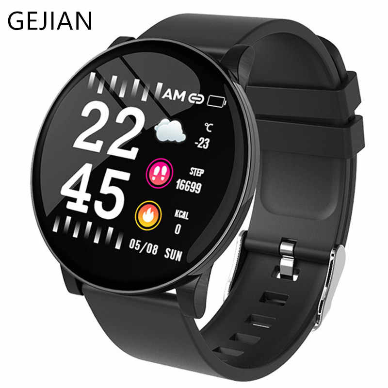 GEJIAN W8 Mens Smart Watch Women IP68 Waterproof Blood Pressure Heart Rate Health Monitoring Bluetooth Fitness Sport SmartWatch