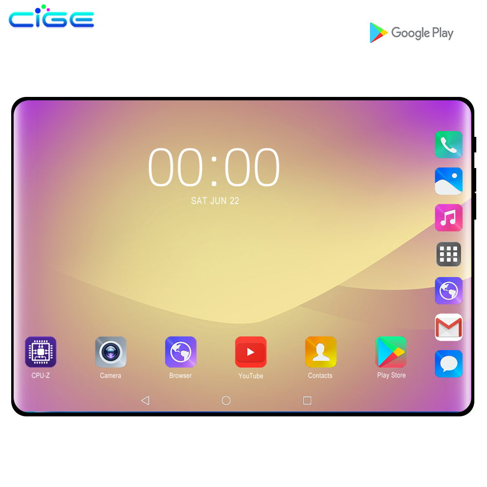 CiGe 10.1 Inch Tablet PC Octa Core 6GB RAM 128GB ROM 3G 4GLTE Android 9.0 Tablet GPS WIFI 1280x800 IPS Tablets Glass Screen 10