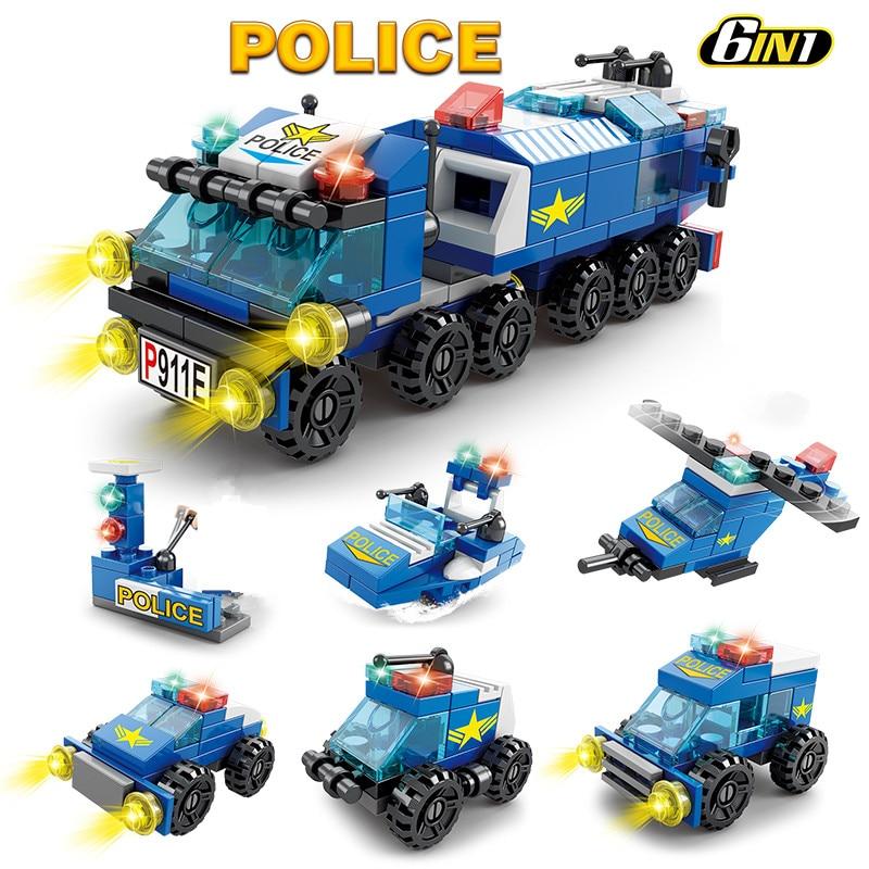 147Pcs 6 IN 1 City Police Truck Patrol Car SWAT Building Block Sets Kit DIY Creator Bricks Educational Toys for Kids