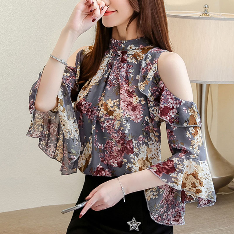 Blouse Women 2019 Ladies Tops Floral Chiffon Blouse For Women Tops Ruffles Stand Butterfly Sleeve Blusas Hollow Plus Szie 0325