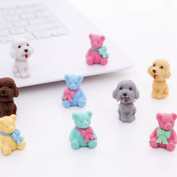 5pcs/lot Cute hamburger/donut/Musical Instruments/teddy bear Rubber  Pencil Erasers School Kid Gifts