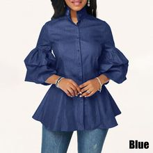 Denim Ladies Shirts VONDA Blouses Plus Size Women Casual Lon
