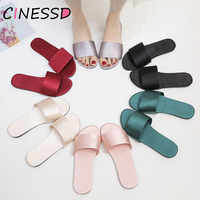 Satin Slippers Women Summer Shoes Open Toe Anti Slip Indoor Home Slippers 2019 Ladies Beach Flip Flops Flat Shoes Woman Slides