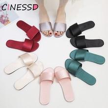 Satin Slippers Women Summer Shoes Open Toe Anti Slip Indoor Home 2019 Ladies Beach Flip Flops Flat Woman Slides