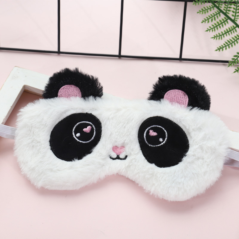 Plush Cartoon Panda Face Eyeshade Soft Sleeping Eye Mask Blindfold Sleep Eye Cover Stuffed Sheep Type Travel Home Party Gift