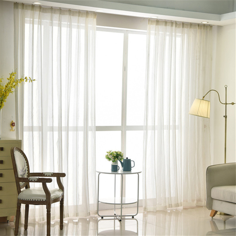 White Stripe Tulle Curtains For Living Room Bedroom Window Curtain Sheers Serape Home Decor Curtains Aliexpress