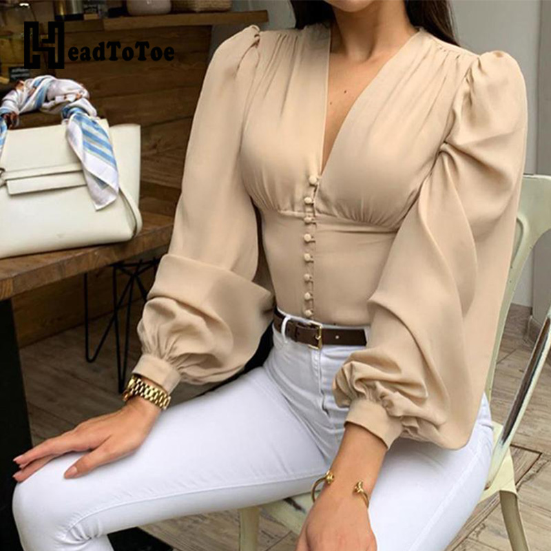 V-Neck Solid Lantern Sleeve Casual Blouse Women Elegant Long Sleeve Buttoned Blouse Tops Workwear