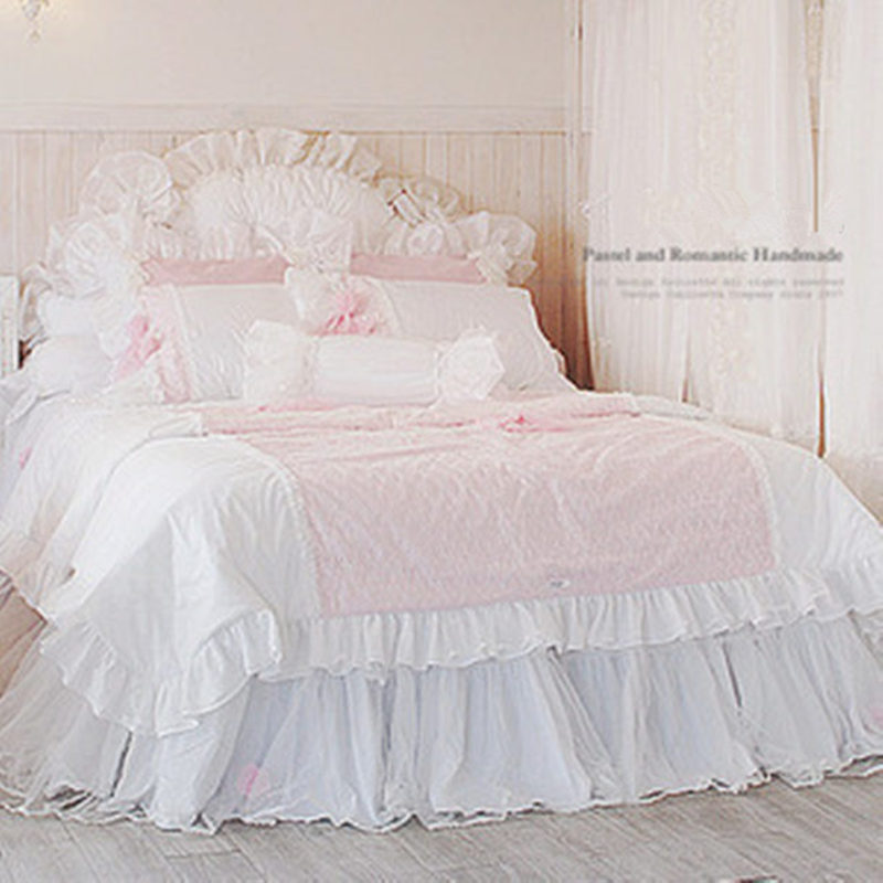 Sweet Romantic Princess Bedding Set Lace Quilted Duvet Cover Yarn Bed Skirt Bow Wedding Decoration Quality Bed Sheet Bedspread