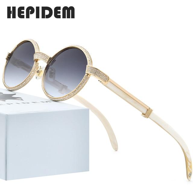 HEPIDEM bawoli róg okulary mężczyźni luksusowy gatunku projektanta okrągły diament dla kobiet nowy wysokiej jakości odcienie