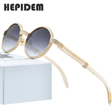 Hepidem水牛ホーンサングラス男性高級ブランドのデザイナーダイヤモンドラウンドサングラス女性のための新高品質のシェード