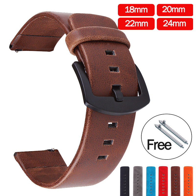 20mm 22mm Genuine Leather Watch Strap For Amazfit Samsung Galaxy Watch 46mm 42mm Gear S3 Band Replacement Strap 24mm 18mm