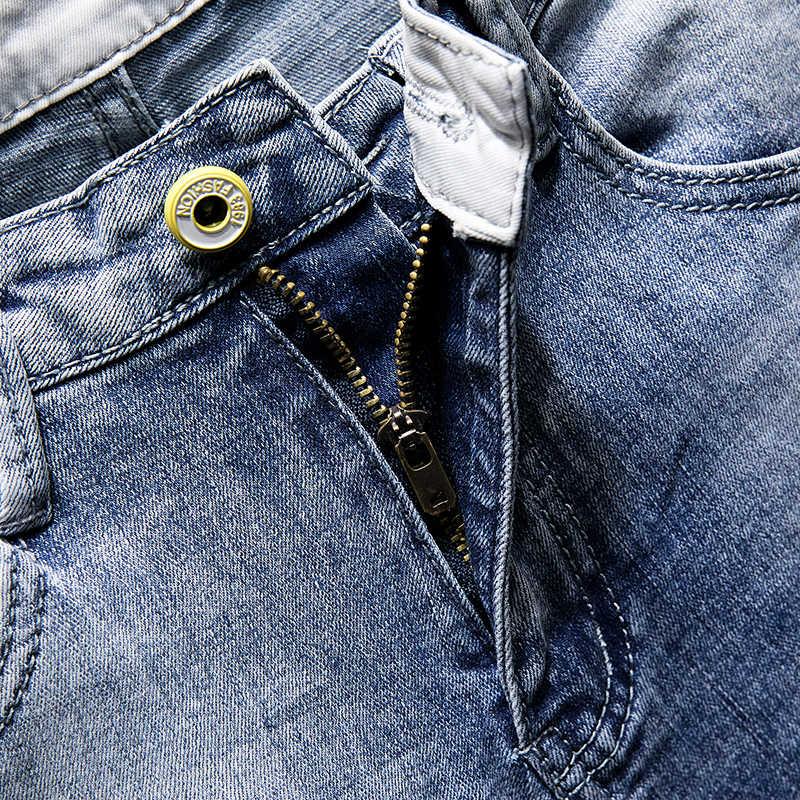 Männer Jeans Heißer Sommer Shorts Gerade Elastizität Baumwolle Riss Gebrochen Löcher Distressed Hüfte Hop Licht Blau Mode Gefälschte Reißverschlüsse