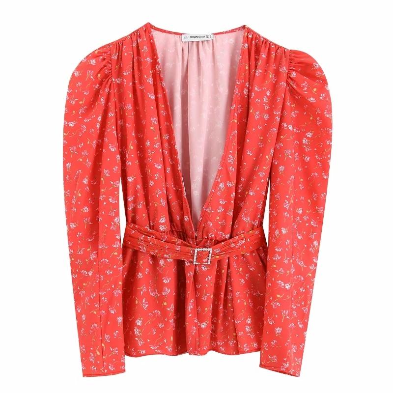 Women Elegant Floral Print Causal Smock Blouse Shirts Women V Neck Chic Kimono Blusas Autumn Sashes Ruffles Chemise Tops LS4090