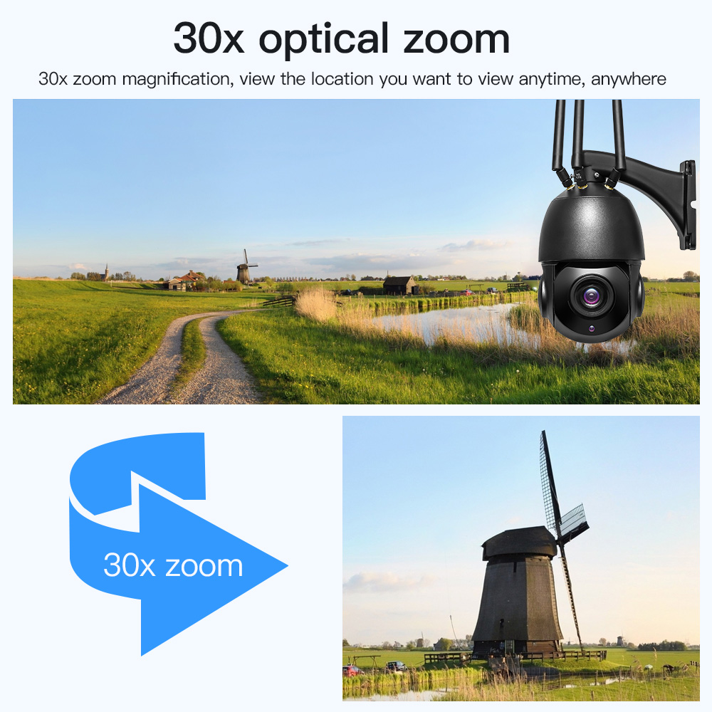 5MP 30X Optische Zoom 3G 4G SIM Karte Drahtlose Wifi Sicherheit Kamera Outdoor PTZ IP Kamera Zwei Weg audio CCTV Überwachung Kamera
