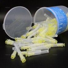 100 pces dental endo irrigação agulha ponta 30g extremidada-fechado comprimento lateral endo seringa raiz canal lavagem po