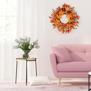 Image 4 - Noël Thanksgiving automne couleur guirlande fenêtre Restaurant maison feuille dérable décoration ornements vacances pendentif couronne