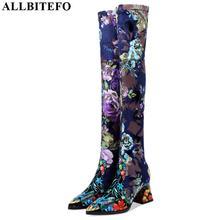 ALLBITEFO neue echtem leder Elastische material hohe qualität frauen stiefel floral mädchen lange stiefel Herbst Winter mode stiefel