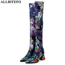 ALLBITEFO yeni hakiki deri elastik malzeme yüksek kaliteli bayan botları çiçek kız uzun çizmeler sonbahar kış moda botları