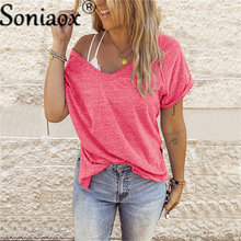 Women Oversized Solid Color V Neck Ladies Sweatshirt Short Sleeve T-Shirt Summer New Female Casual Loose Plus Size Top T-Shirt
